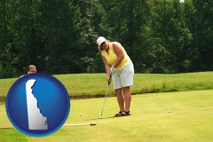 delaware map icon and a golf putting lesson on a golf course