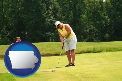 iowa map icon and a golf putting lesson on a golf course