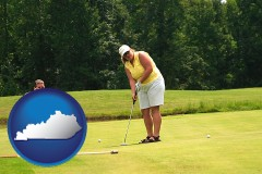 kentucky map icon and a golf putting lesson on a golf course