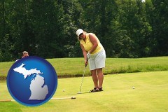 michigan map icon and a golf putting lesson on a golf course