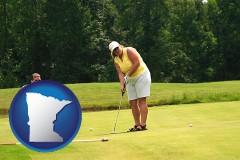 minnesota map icon and a golf putting lesson on a golf course