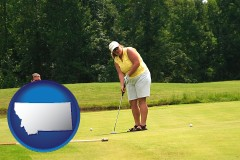 montana map icon and a golf putting lesson on a golf course