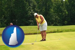 new-hampshire map icon and a golf putting lesson on a golf course
