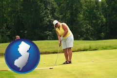 new-jersey map icon and a golf putting lesson on a golf course