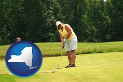 new-york map icon and a golf putting lesson on a golf course