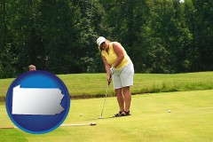 pennsylvania map icon and a golf putting lesson on a golf course