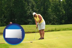south-dakota map icon and a golf putting lesson on a golf course
