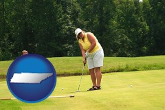 tennessee map icon and a golf putting lesson on a golf course