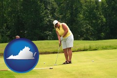 virginia map icon and a golf putting lesson on a golf course