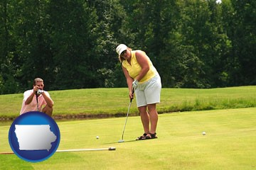 a golf putting lesson on a golf course - with Iowa icon