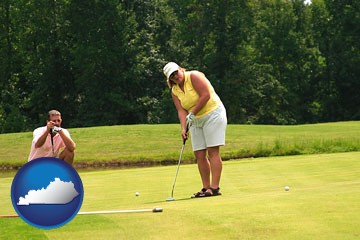 a golf putting lesson on a golf course - with Kentucky icon